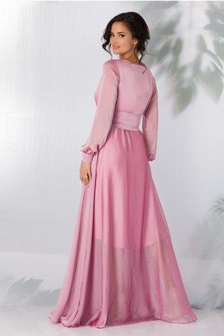 Rochie Sara lunga roz petrecuta