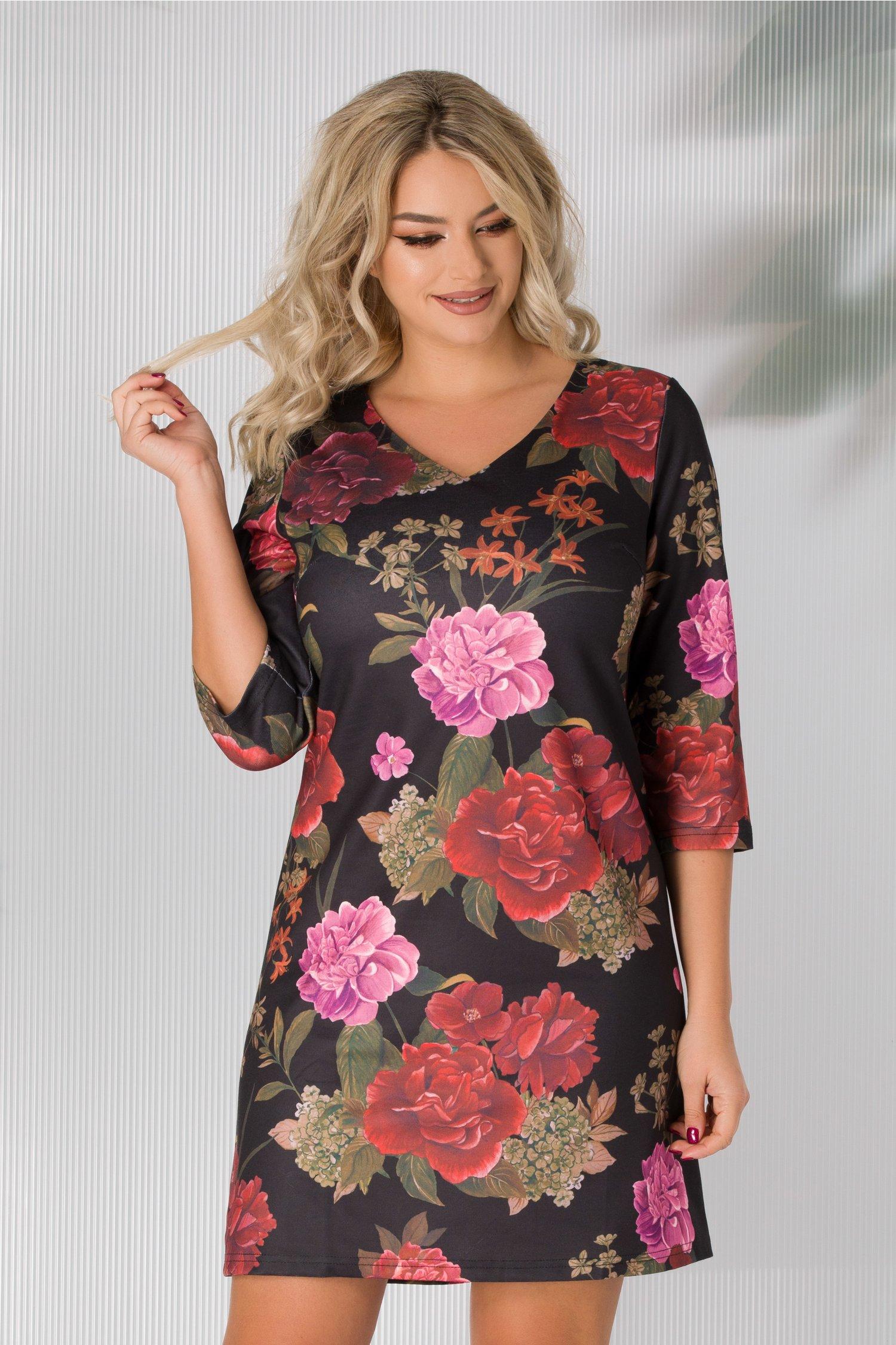 Rochie Sara neagra cu trandafiri colorati