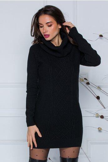 Rochie Sara neagra din tricot cu guler maxi