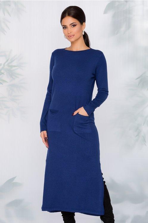 Rochie Sara tricotata albastra cu buzunare