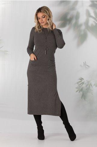 Rochie Sara tricotata gri cu buzunare