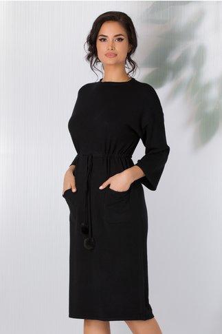 Rochie Sara tricotata neagra cu snur in talie si buzunare
