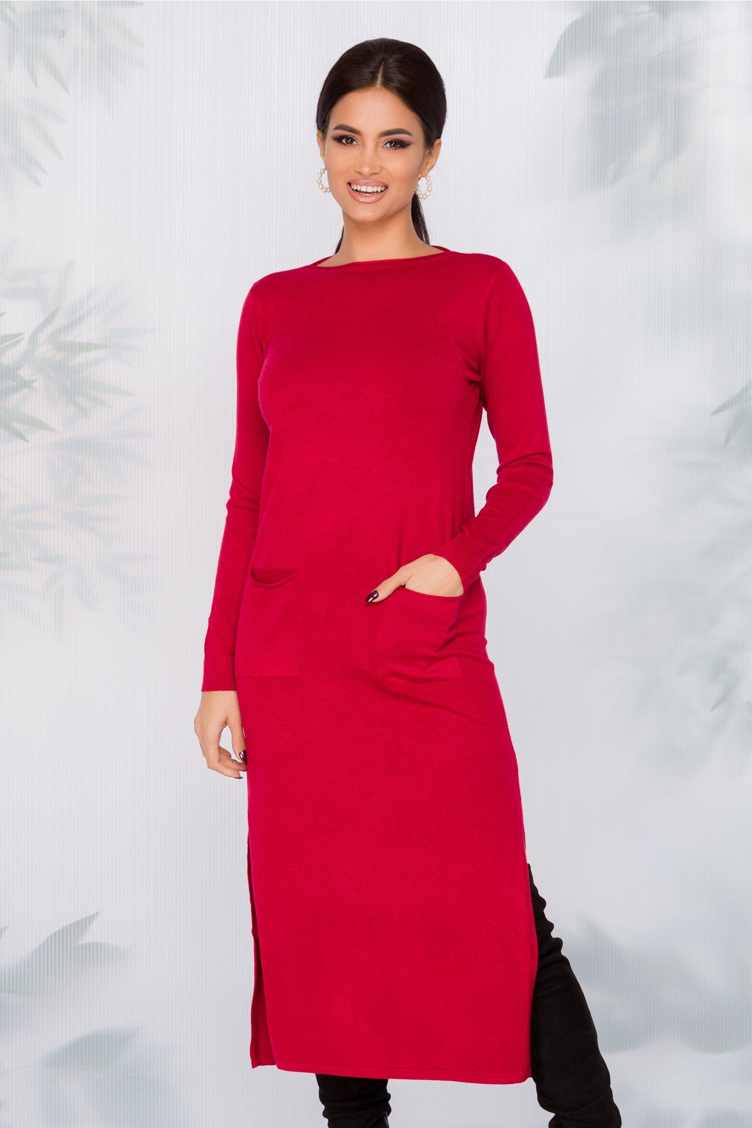 Rochie Sara tricotata rosie cu buzunare