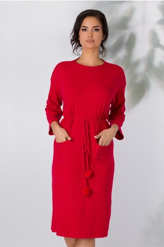 Rochie Sara tricotata rosie cu snur in talie si buzunare