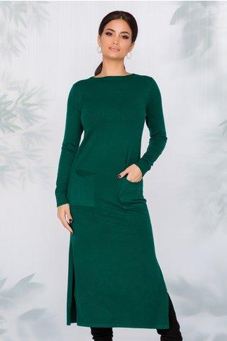 Rochie Sara tricotata verde cu buzunare