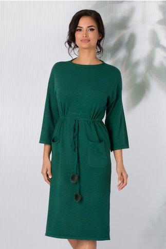 Rochie Sara tricotata verde cu snur in talie si buzunare