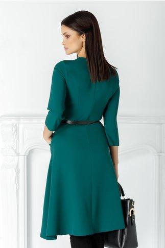 Rochie Sara verde clos cu curea in talie