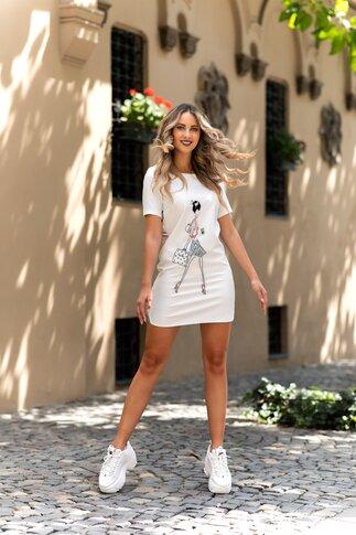 Rochie Sarah alba scurta cu imprimeu fashion