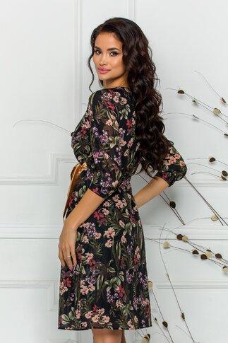 Rochie Sarah neagra cu imprimeuri florale kaki