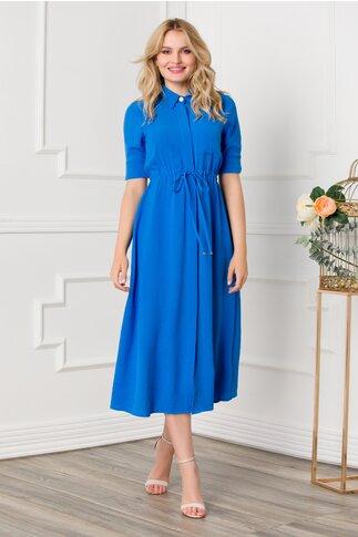 Rochie Saray albastra midi cu cordon in talie