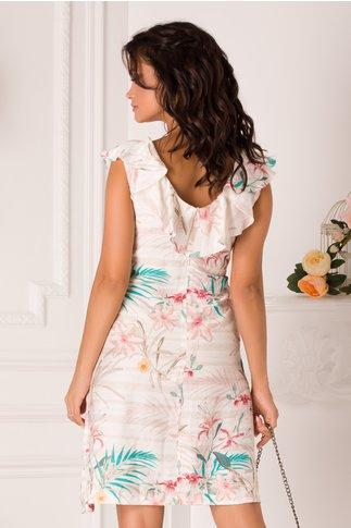 Rochie Sarita ivory cu imprimeuri florale pastelate