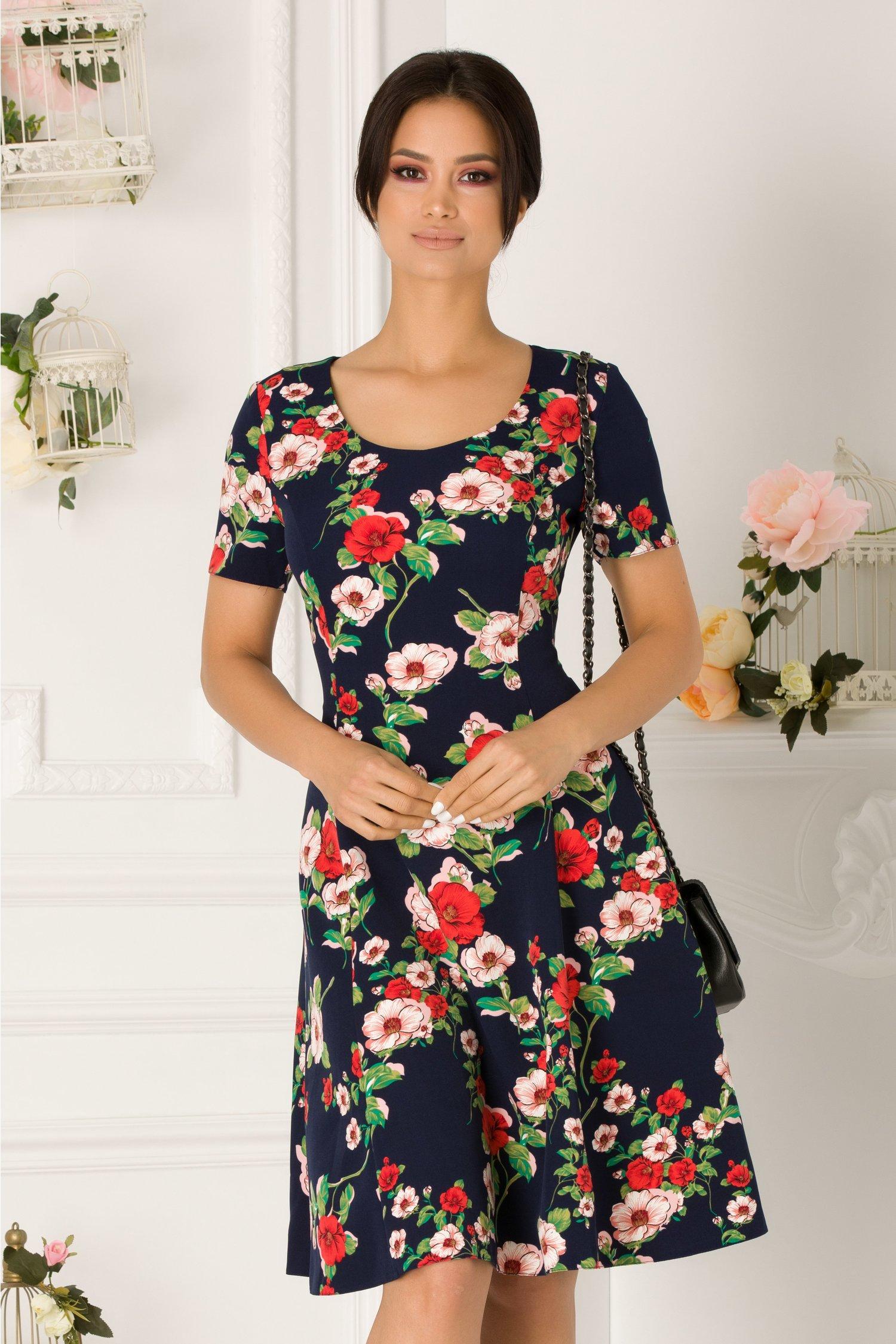 Rochie Sarra bleumarin cu imprimeu floral roz si rosu