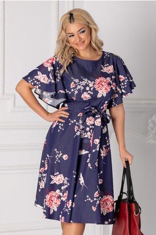 Rochie Sarry midi bleumarin cu imprimeuri florale