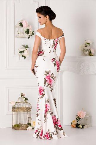 Rochie Sary alba lunga cu trandafiri roz