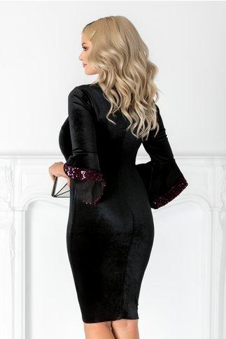 Rochie Sary neagra din catifea cu paiete mov