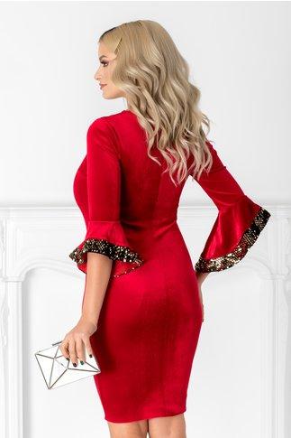Rochie Sary rosie din catifea cu paiete aurii