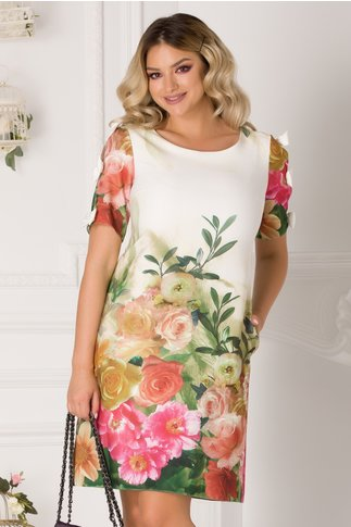 Rochie Sasha alba cu imprimeu floral colorat si fundite la maneci