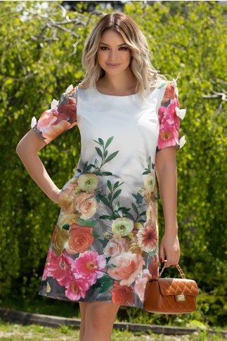 Rochie Sasha alba cu imprimeu floral si fundite la maneci