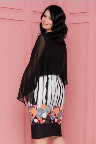 Rochie Sasha neagra cu bustul din voal si imprimeu divers la baza