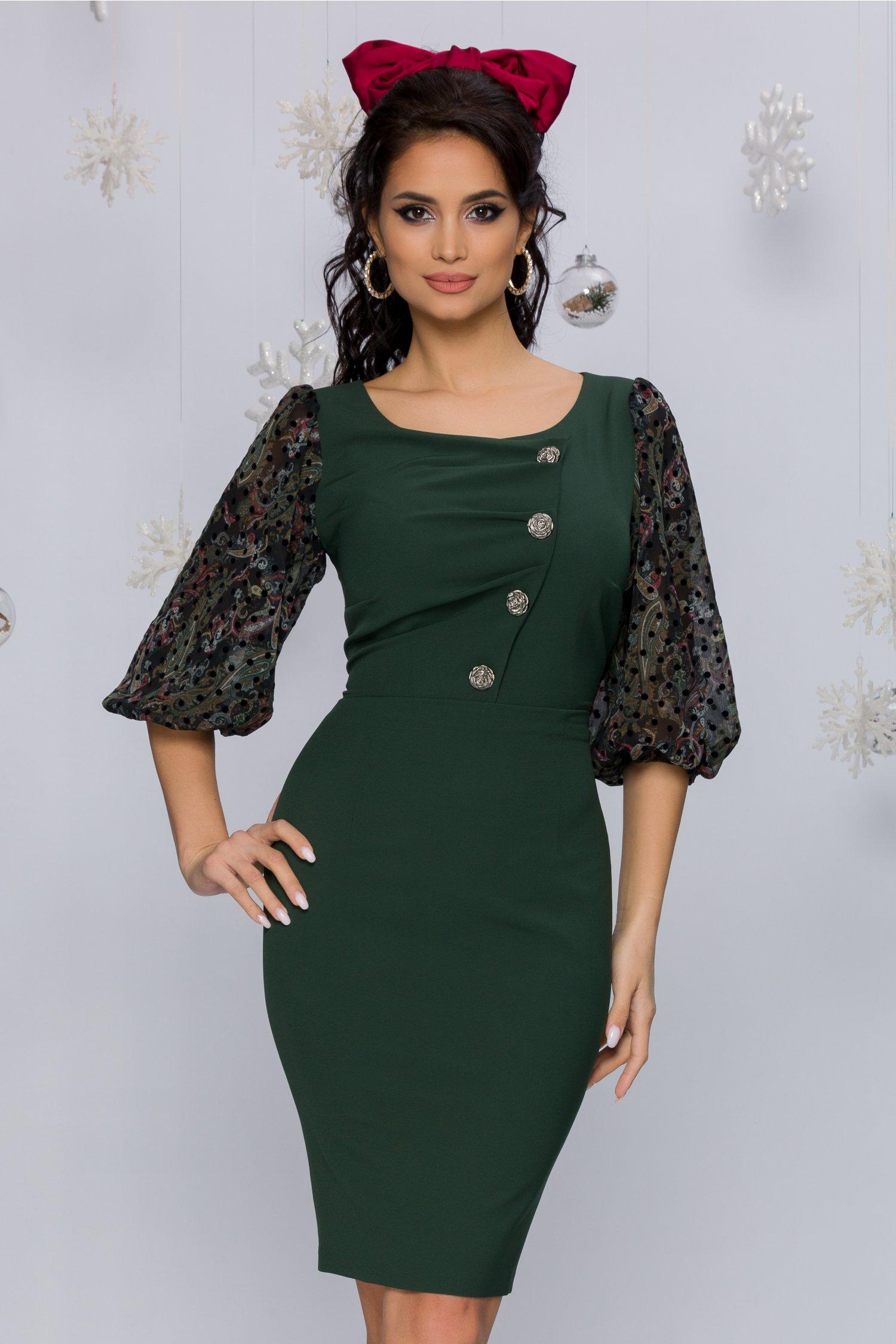 Rochie Sasha verde inchis cu maneci bufante din voal