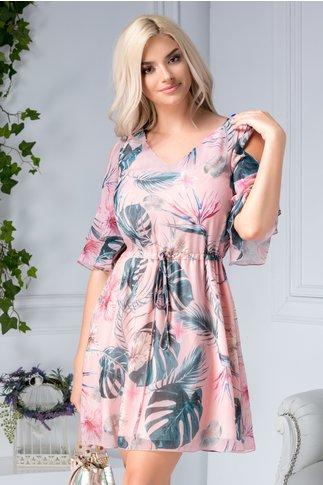 Rochie Ladonna Savanna roz vaporoasa cu imprimeu tropical