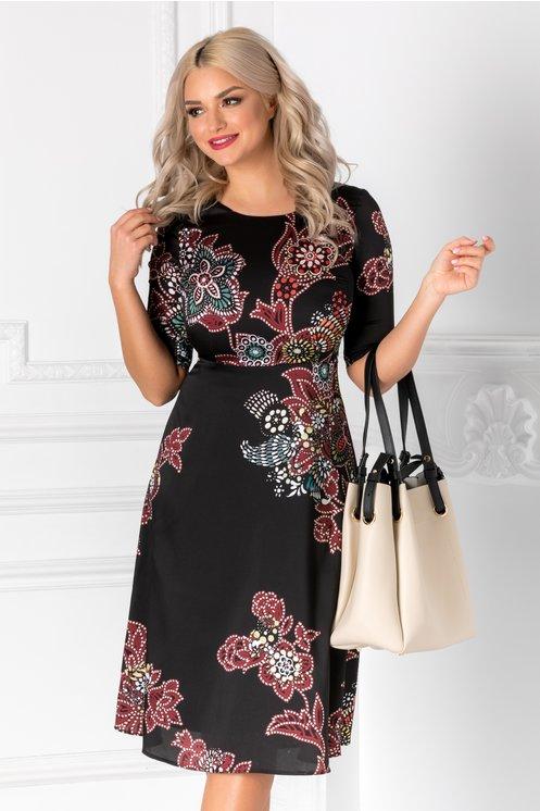 Rochie Scarlet neagra eleganta cu imprimeu floral