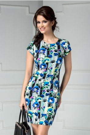Rochie scurta alba cu imprimeu divers albastru