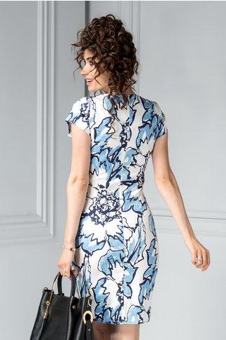 Rochie scurta alba din bumbac cu imprimeu bleu