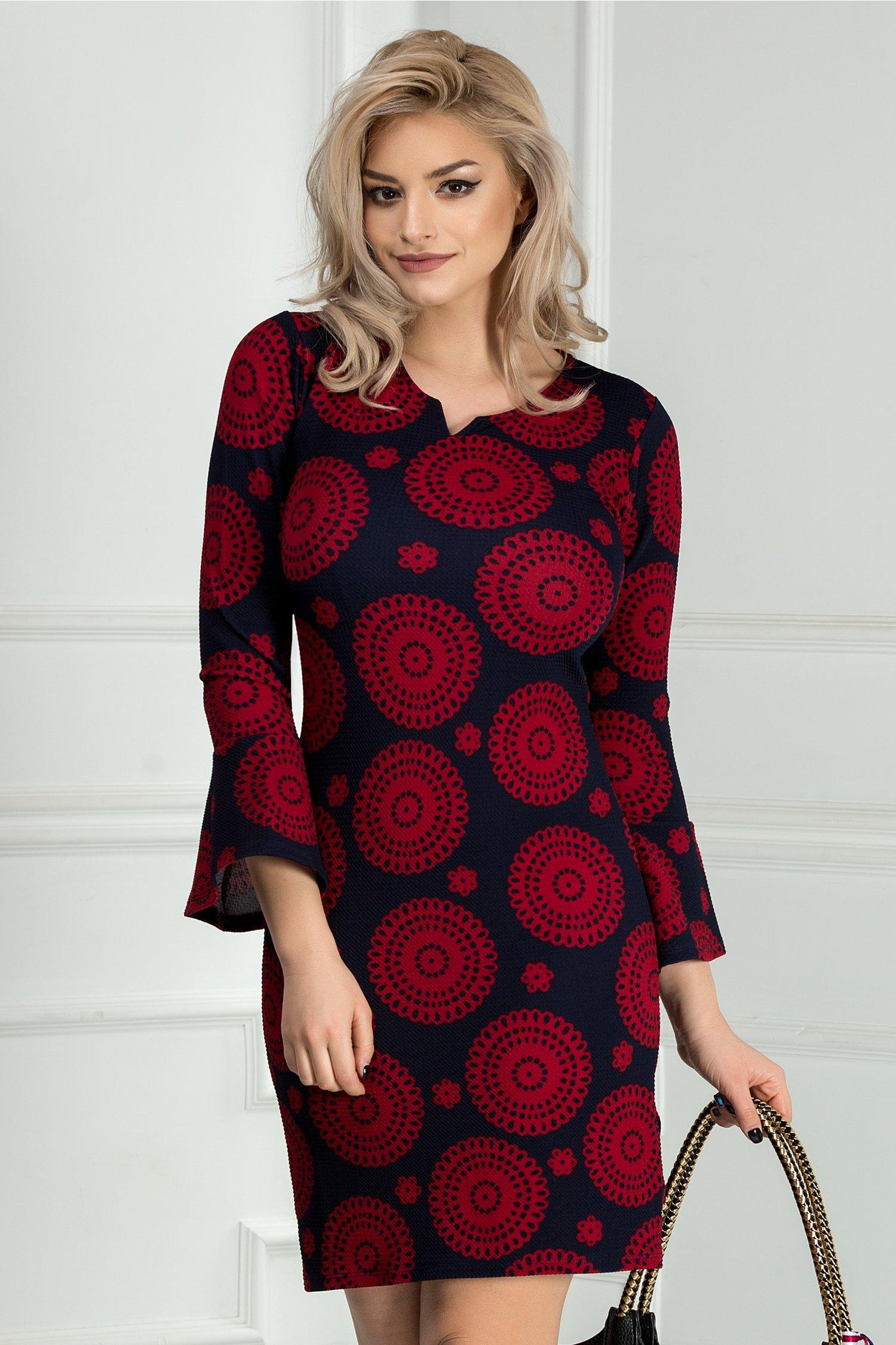 Rochie scurta bleumarin cu imprimeu rosu