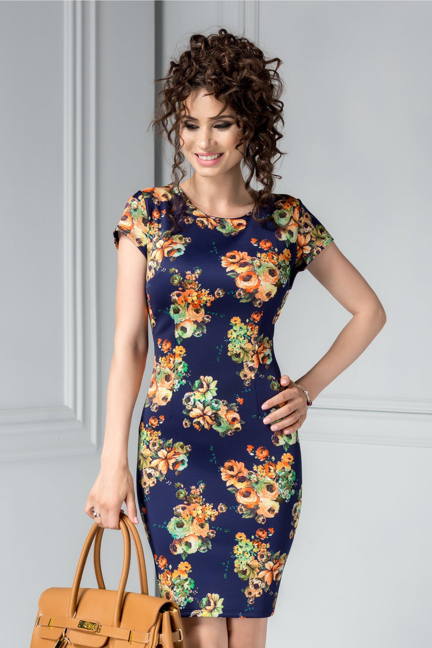 Rochie scurta bleumarin de vara cu imprimeu oranj