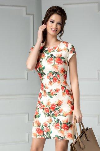 Rochie scurta crem cu imprimeu floral oranj