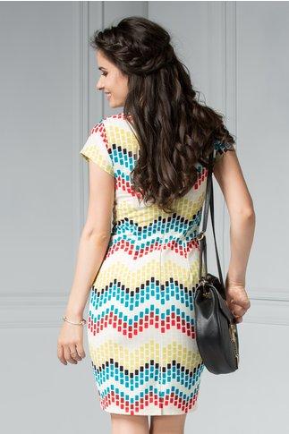 Rochie scurta de zi cu patratele colorate