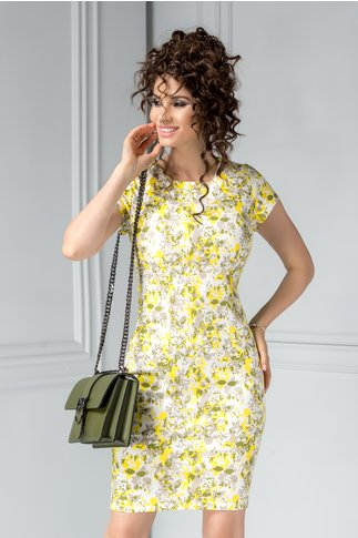 Rochie scurta din bumbac de vara cu floricele galbene
