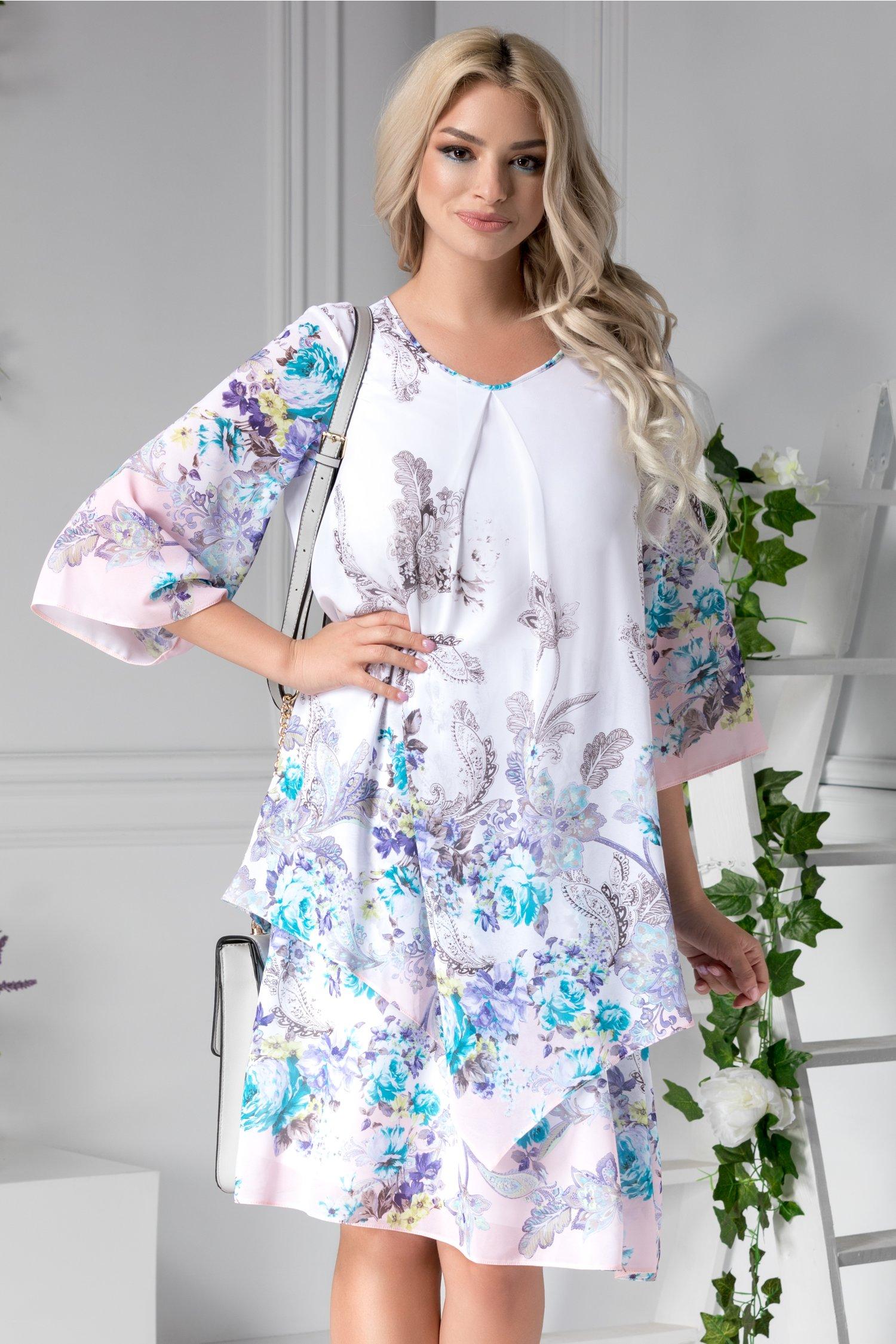 Rochie Sebille vaporoasa de zi cu imprimeuri bleu