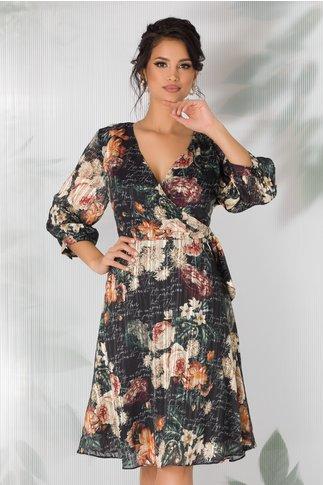 Rochie Seiko neagra cu imprimeu floral si mesaj imprimat