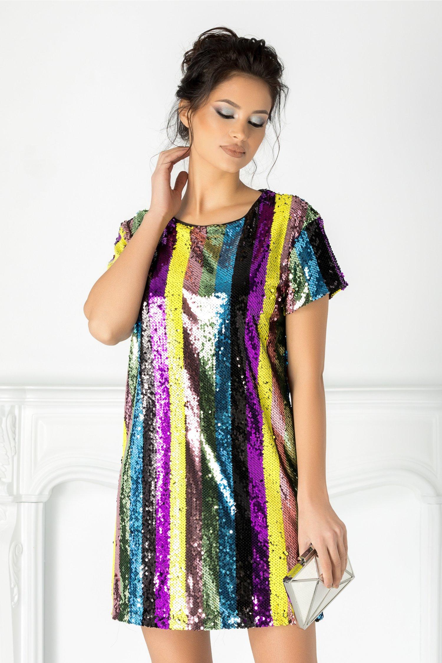 Rochie Selena din paiete multicolore