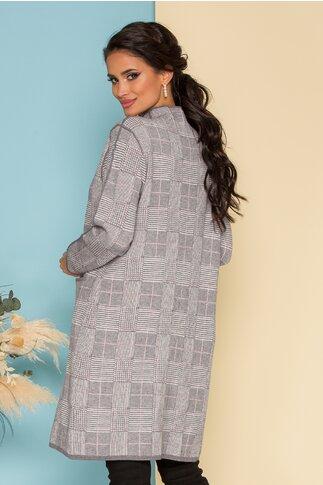 Rochie Selena gri cu imprimeuri liniare