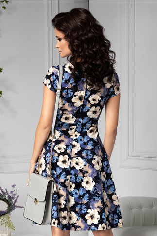 Rochie Selene bleumarin cu flori crem-bleu