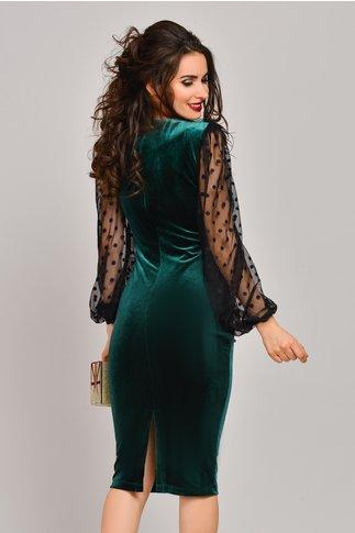 Rochie Selina verde din catifea cu maneci bufante
