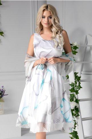 Rochie Selma de zi vaporoasa cu imprimeu gri turcoaz