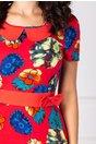 Rochie Senna rosie cu imprimeu floral si funda in talie