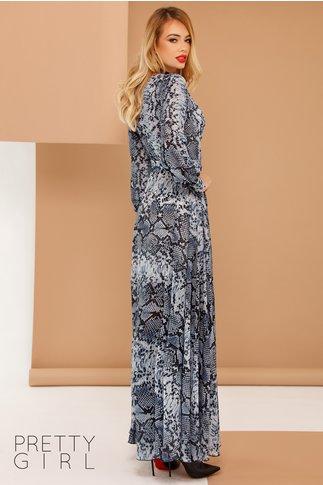 Rochie Sere bleu lunga vaporoasa cu imprimeu piele de sarpe