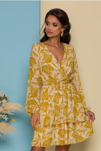Rochie Serena bej cu motive florale galben mustar si curea tip lant in talie