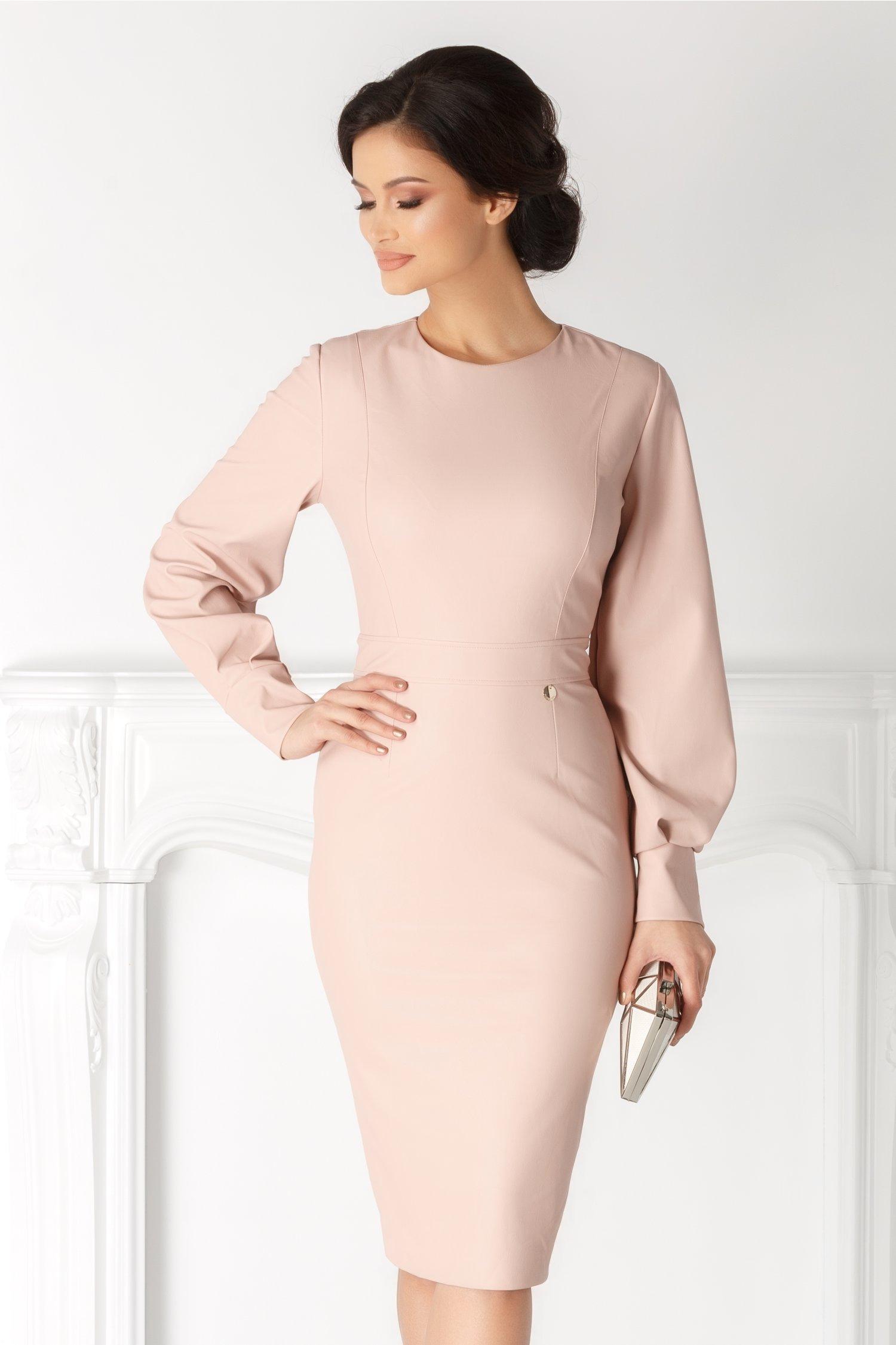 Rochie Shay roz pal din piele ecologica