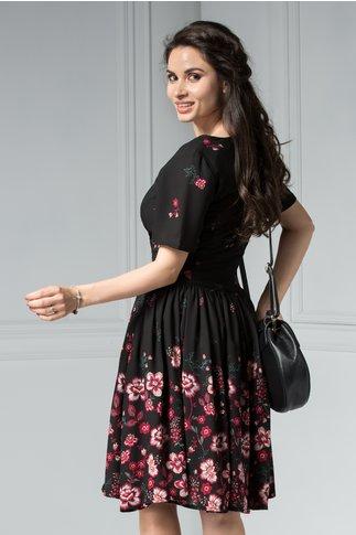 Rochie Shirley de Vara Neagra cu Imprimeu Floral Rosu