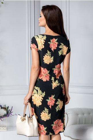 Rochie Siana neagra cu imprimeu floral