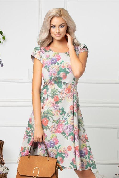 Rochie Sidney gri cu imprimeu floral colorat