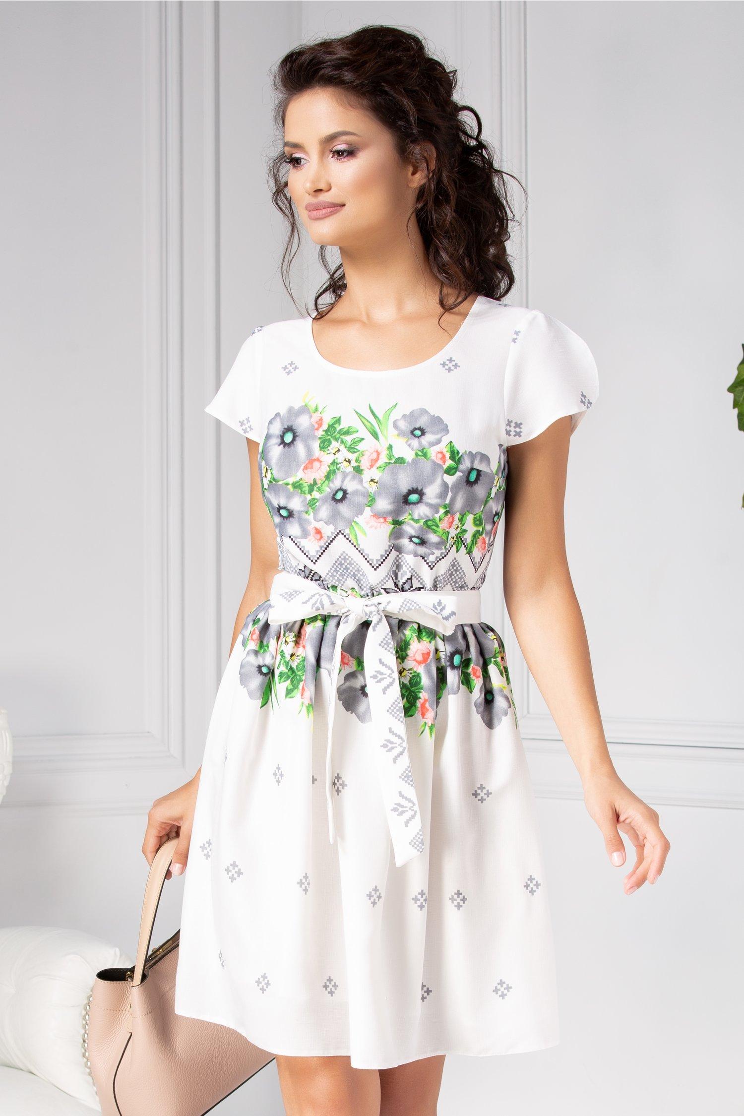 preț atractiv întâlni Adidași 2018 Rochie siena alba cu motive traditionale si flori gri - fashion 4me