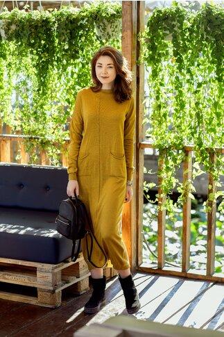 Rochie Siena galben mustar din tricot cu buzunare