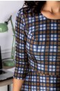 Rochie Sienna gri cu carouri maro-bleumarin